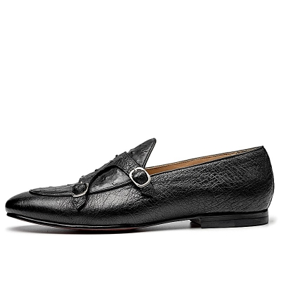 Men's Ostrich Double Buckle Monk Strap Loafer-Side