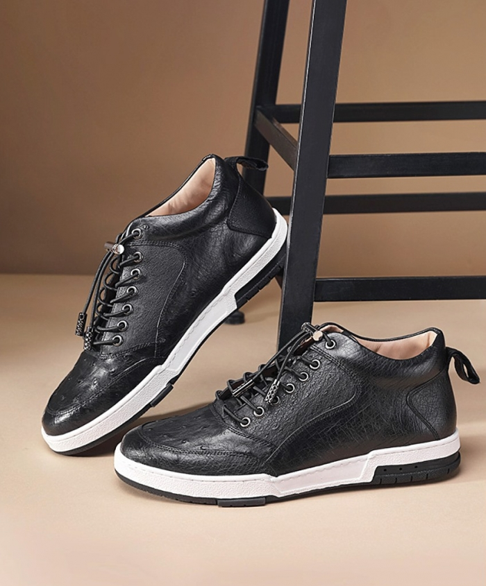 Comfortable Casual Ostrich Lace Up Sneakers-1