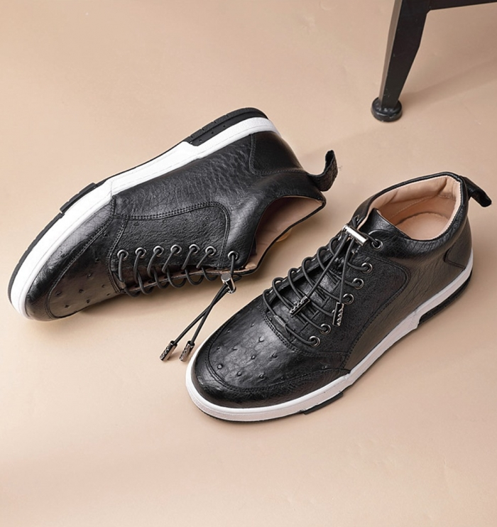 Comfortable Casual Ostrich Lace Up Sneakers-2