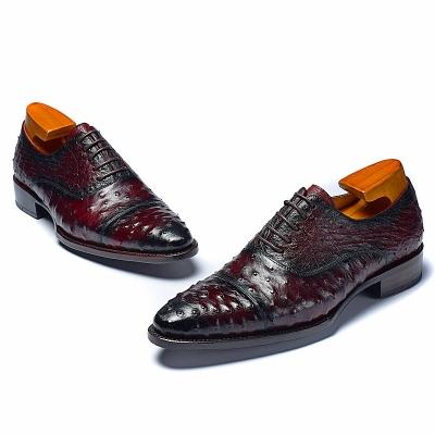 Ostrich Cap-Toe Lace-up Oxford Dress Shoes-1