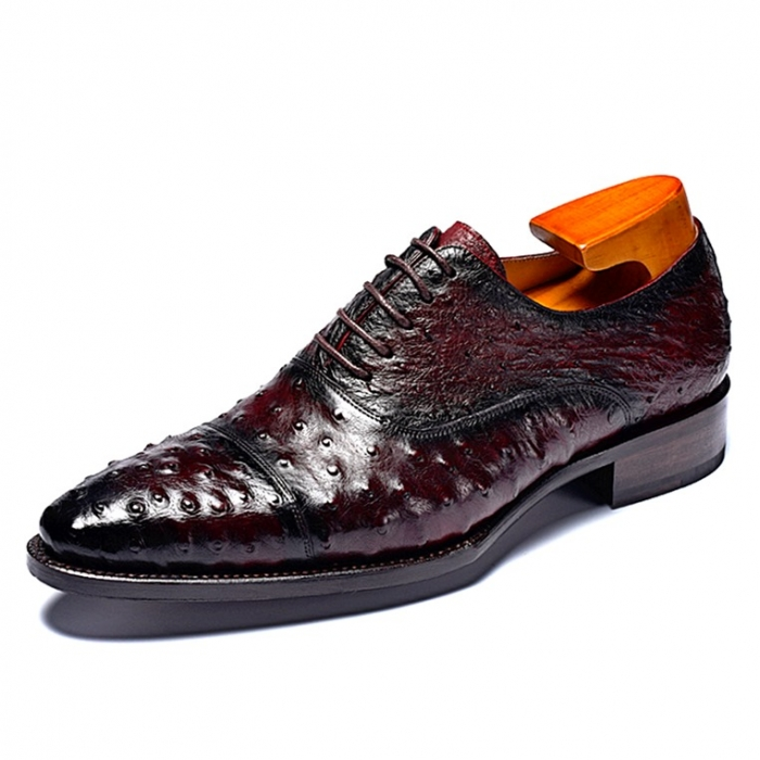 Ostrich Cap-Toe Lace-up Oxford Dress Shoes