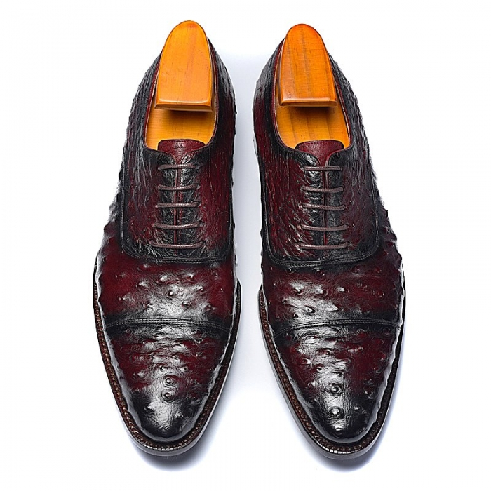 Ostrich Cap-Toe Lace-up Oxford Dress Shoes-Upper