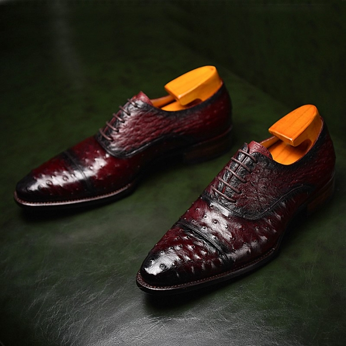 Ostrich Cap-Toe Lace-up Oxford Dress Shoes for Men