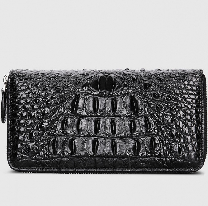 Crocodile Leather Long Checkbook Wallets Phone Clutch with Zipper-Back