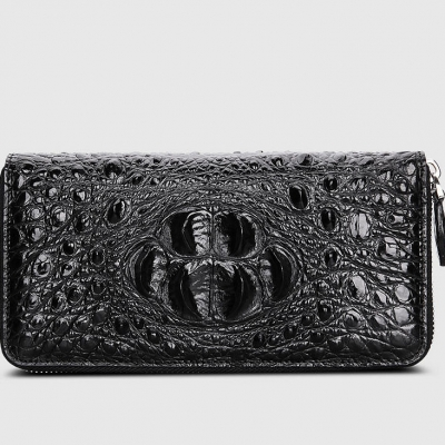 Crocodile Leather Long Checkbook Wallets Phone Clutch with Zipper-Black