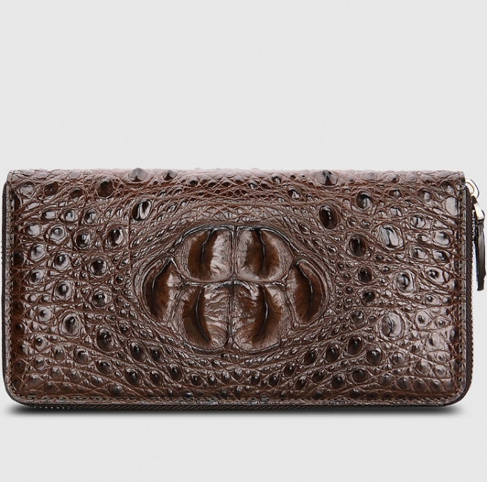 Crocodile Leather Long Checkbook Wallets Phone Clutch with Zipper-Brown