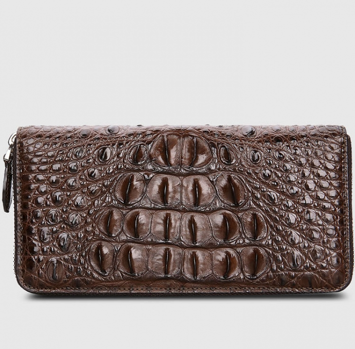 Crocodile Leather Long Checkbook Wallets Phone Clutch with Zipper-Brown-Back