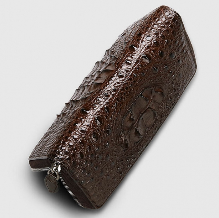 Crocodile Leather Long Checkbook Wallets Phone Clutch with Zipper-Brown-Top