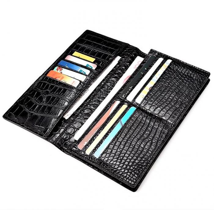 Slim Alligator Leather Bifold Wallet Card Holder-Black-Lining