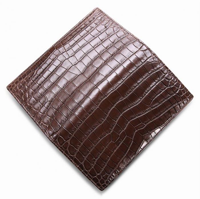 Slim Alligator Leather Bifold Wallet Card Holder-Brown-1