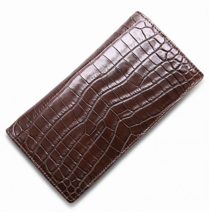 Slim Alligator Leather Bifold Wallet Card Holder-Brown