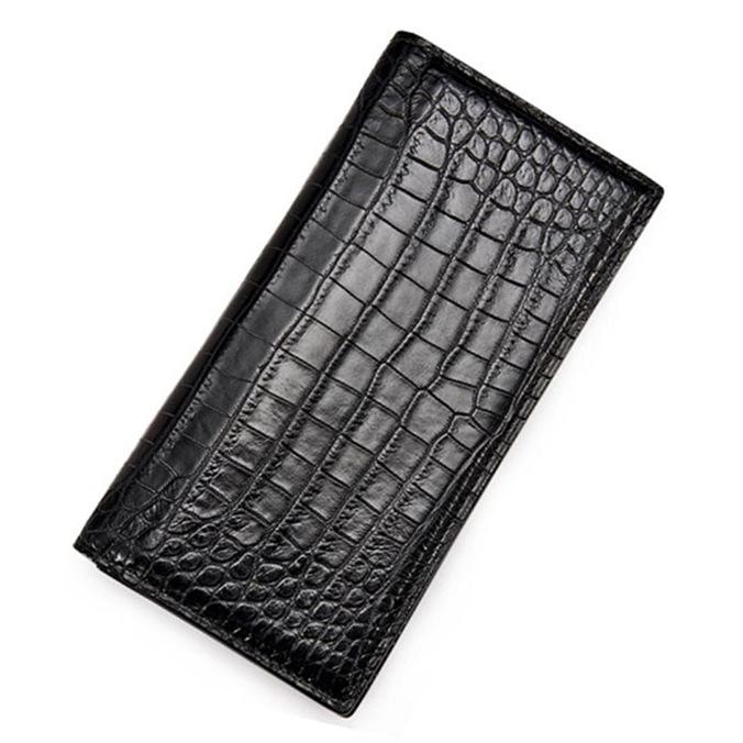 Slim Alligator Leather Bifold Wallet Card Holder