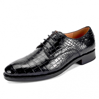 Alligator Leather Lace Up Derby Shoes for Men
