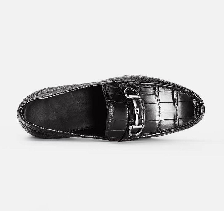 Casual Alligator Leather Moc-Toe Bit Slip-On Penny Loafer