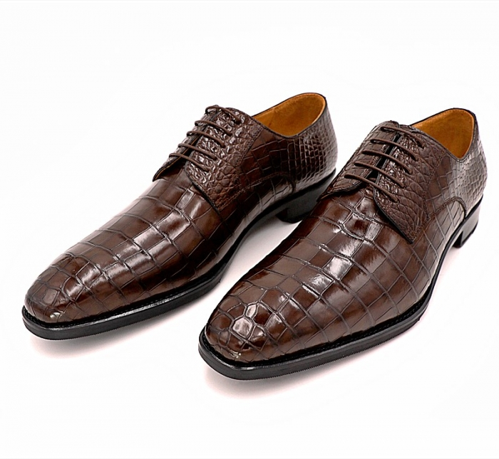 Classic Alligator Leather Lace Up Derby Shoes for Men-1