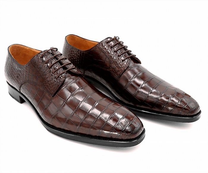 Classic Alligator Leather Lace Up Derby Shoes for Men-2