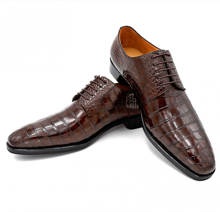 Classic Alligator Leather Lace Up Derby Shoes for Men-3