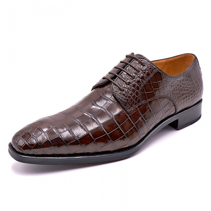 Classic Alligator Leather Lace Up Derby Shoes for Men