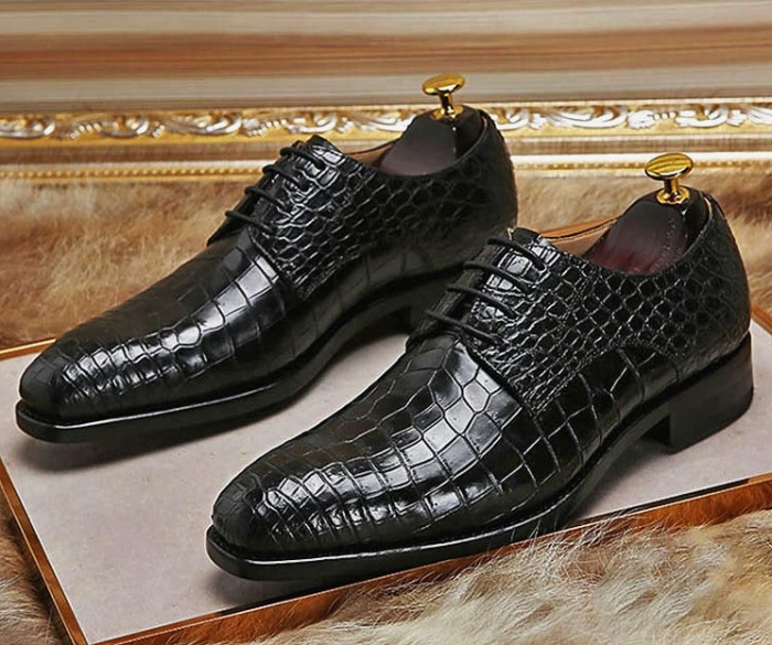 Classic Alligator Leather Lace Up Derby Shoes for Men-Black-1