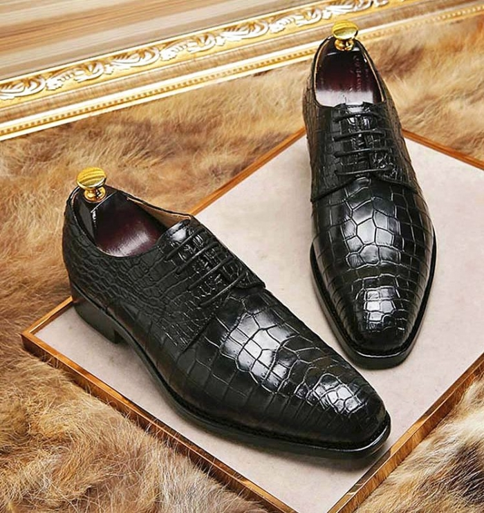 Classic Alligator Leather Lace Up Derby Shoes for Men-Black-2
