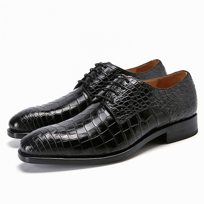 Classic Alligator Leather Lace Up Derby Shoes for Men-Black