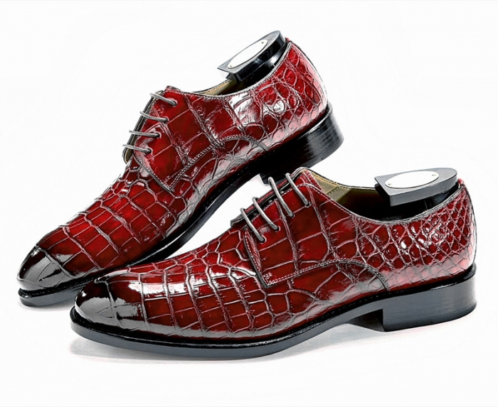 Classic Alligator Leather Lace Up Derby Shoes for Men-Burgundy