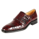 Handcrafted Alligator Double Buckle Monk Strap Cap Toe Shoes