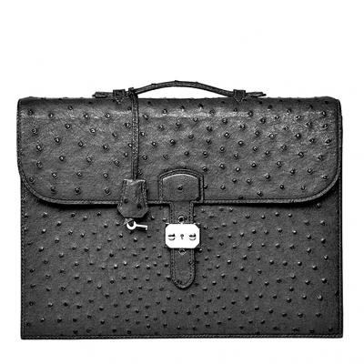 Casual Ostrich Leather Briefcase Laptop Bag-Black