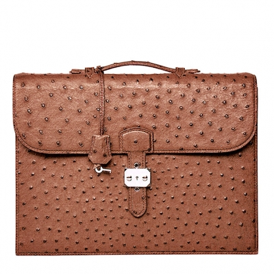 Casual Ostrich Leather Briefcase Laptop Bag-Brown