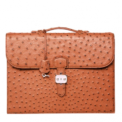 Casual Ostrich Leather Briefcase Laptop Bag-Tan