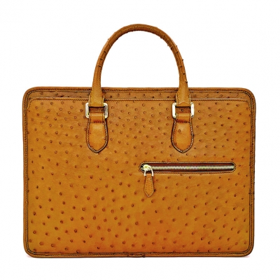 Ostrich Briefcase Laptop Bag Messenger Business Bags-Tan