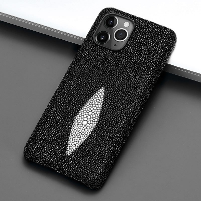 Stingray Leather iPhone 12 Pro and 12 Pro Max Cases-Black