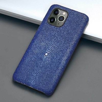Stingray Leather iPhone 12 Pro and 12 Pro Max Cases-Blue