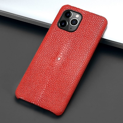 Stingray Leather iPhone 12 Pro and 12 Pro Max Cases-Red