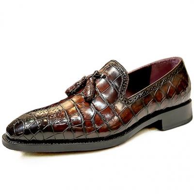 Handcrafted Genuine Alligator Leather Tassel Semi Formal Loafer