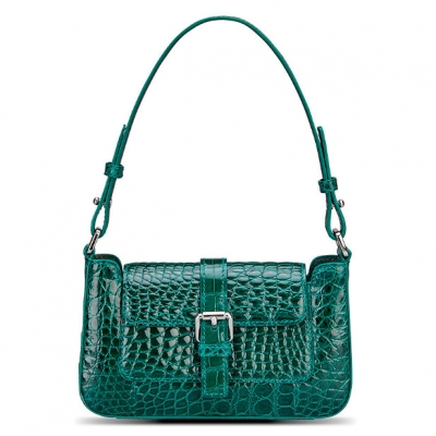 Alligator Leather Clutch Purses Small Shoulder Bags-Green