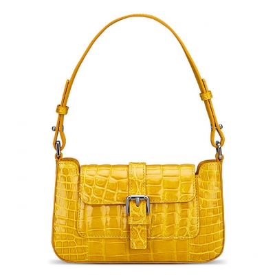 Alligator Leather Clutch Purses Small Shoulder Bags-Yellow