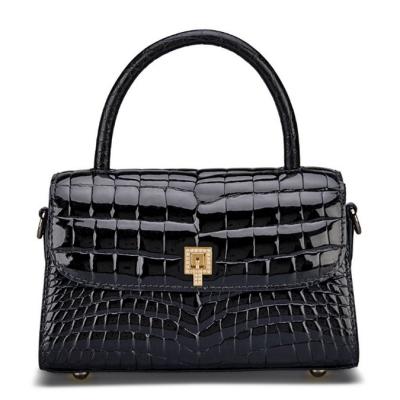 Small Alligator Top Handle Purses Vintage Shoulder Handbags-Black