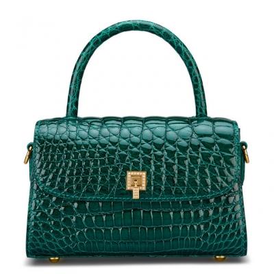 Small Alligator Top Handle Purses Vintage Shoulder Handbags-Green