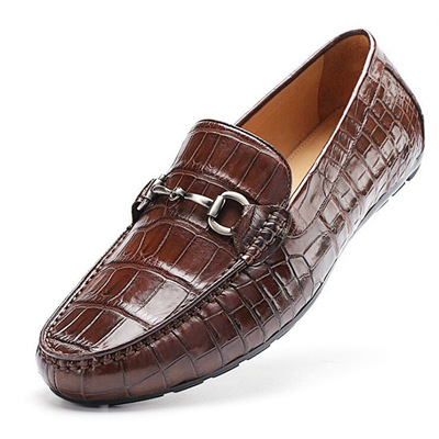 Alligator Shoes, Alligator Penny Loafers Driving Style Moccasin Shoes