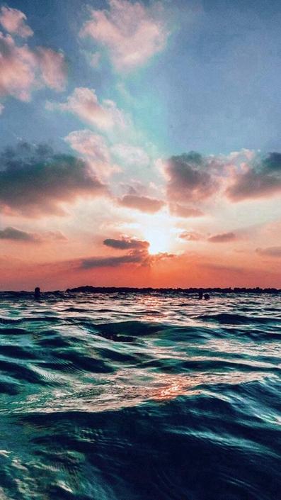Summer Sunset Ocean-iPhone Wallpaper
