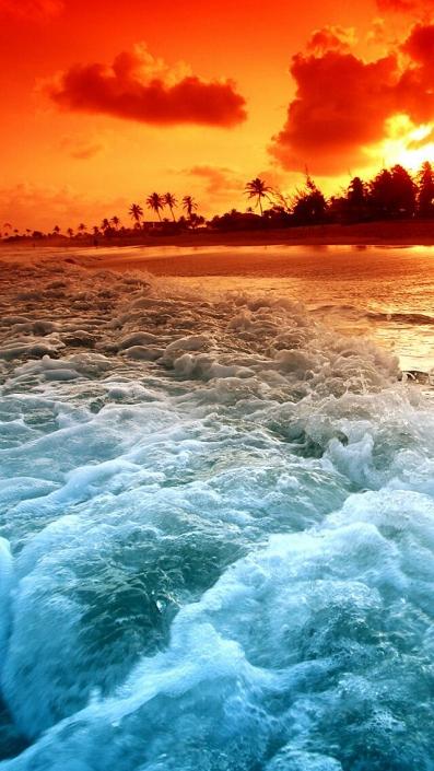 Sunset Beach-iPhone Wallpaper
