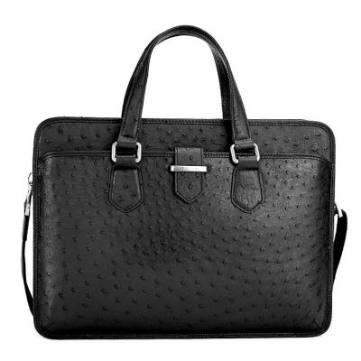 Classic Ostrich Leather Messenger Bag Laptop Bag for Men